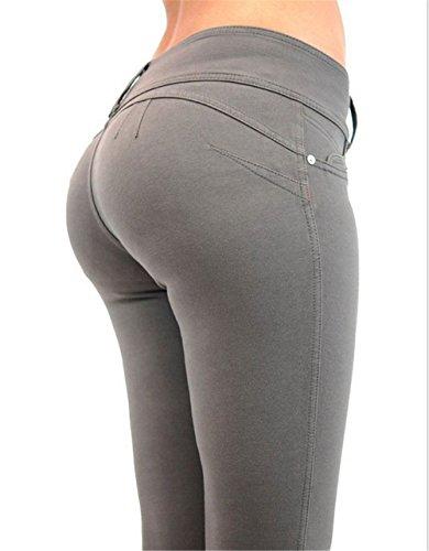 Women's taille Rouge taille lasticit Loisirs Hoverwings Haute mince pantalon Gris Slim Grande L tait T7wfH