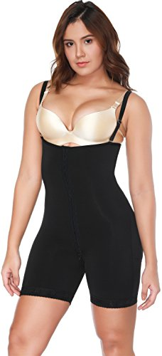 MISS MOLY Women's Seamless Body Briefer Shapewear Compression Garment Mid Thigh Bodysuits Firm Tummy Control Black#5 2XL