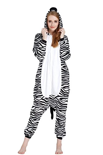 Women's Animal Flannel Cosplay Pajamas Onesie, Zebra, XL for $<!--$25.99-->