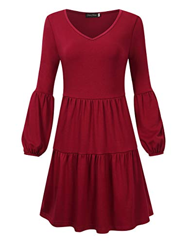 (GloryStar Women's V Neck Long Sleeve Tunic Dress Pleated Ruffle Loose Swing Casual Shift Dresses Burgundy 2XL)