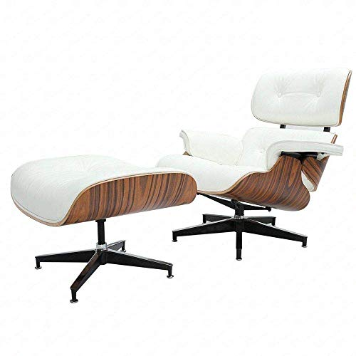 Modern Sources - Mid Century Recliner Lounge Chair with Ottoman Real Wood Genuine Italian Leather Eames Replica (White ()