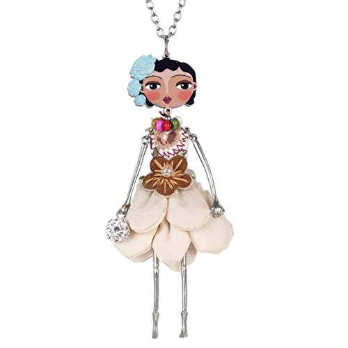 Bonsny Paris Doll Necklace Dress Handmade Pendant News Alloy Metal Crystal Flower Long Chain Fashion Jewelry (Beige)