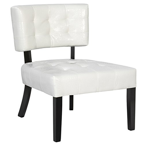 Best Choice Products Home Furniture Wide-Seat Tufted Leather Accent Chair - Cream White