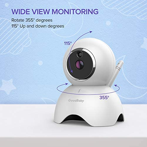 """41pBB47shAL. AC - GOODBABY Real 720P 5"""" HD Display Video Baby Monitor With Camera And Audio, Remote Pan&Tilt&Zoom, Two-Way Talk,Temperature Monitor, Night Vision, Lullaby Player, 960ft Range"""