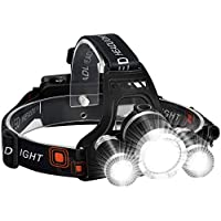 Headlamp for Adults LED 6000LM Ultra Bright 3 LED Headlight USB Rechargeable 4 Modes Flashlight Waterproof Outdoor…