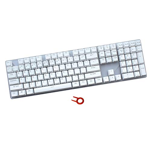 PBT Keycaps Backlit 108Key Set Doubleshot Translucent Cherry MX Key Caps Top Print with Keycaps Puller for 87/104/108 MX Switches Mechanical Gaming Keyboard (White) ()