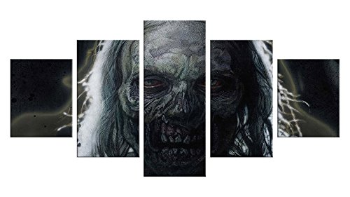 Pictures Of Mother Nature Halloween Costumes (Zombie Apocalypse Canvas Wall Decor - 5 Pieces Appreciation Wall Art - Oil Painting - Unframed - Stuff Birthday Party Gift - Halloween Bathroom Aquarium Themed Decorations #15)