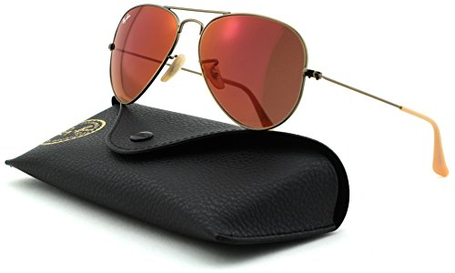 Ray-Ban RB3025 Aviator Large Metal Unisex Aviator Mirror Sunglasses (Domiglos Brushed Bronze Frame/ Red Mirror Lens 167/2K, - Ban R Ray