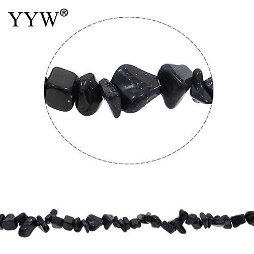 Calvas Hot Natural Stone Beads Chips Beads 5-8mm Blue Goldstone Strand 34.6inch Lrregular Gravel Beads DIY Bracelet for Jewelry Making