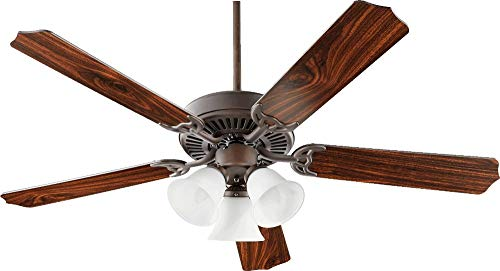 Quorum 77525-1086 Protruding Mount, 5 Oiled Bronze Blades Ceiling fan with 60 watts light, Oiled Bronze ()