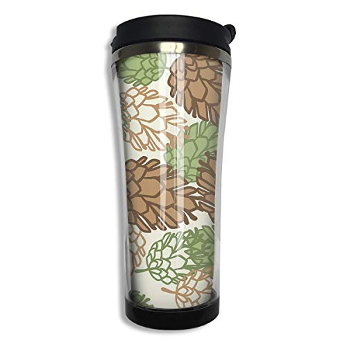 Stainless Steel Travel Mug Stylized Pine Cones Coffee Cup Tumbler with Lid 14.3 Oz