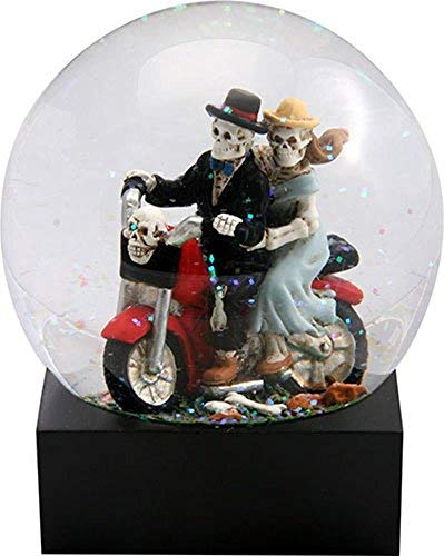 Skull Lovers on Red Motorcycle in a Water Globe with Glitter -