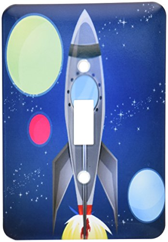 3dRose lsp/_111577/_1Boys Rocket Ship With Planets Design On A Dark Blue Background Single Toggle Switch Multicolor