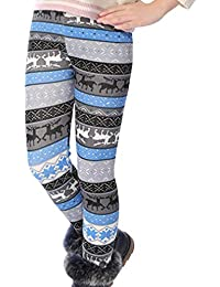 Girls Fleece Lined Thick Leggings Colorful Autumn Winter Warm Pants