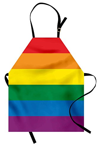 Ambesonne Pride Apron, Horizontal Rainbow Colored Flag of Gay Parade Freedom Equality Love Passion Theme, Unisex Kitchen Bib Apron with Adjustable Neck for Cooking Baking Gardening, (Rainbow Apron)