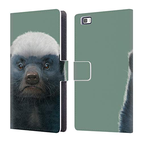 Official Vincent HIE Honey Badger Animals Leather Book Wallet Case Cover Compatible for Huawei P8lite / ALE-L21