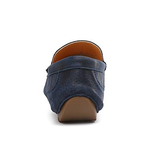 Tda Manar Tillfälliga Slutna Tå Läder Penny Loafers Kör Mockasiner Skor Blå