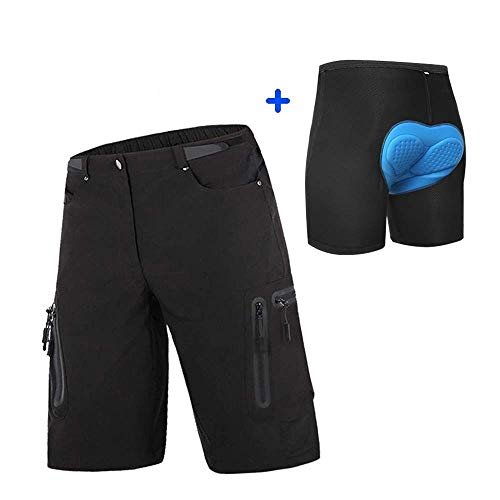 Cycorld Mens Mountain Bike Biking Shorts, Water Repellent MTB Shorts, Loose Fit Cycling Baggy Pants with Zip Pockets (2XL(Waist:34.5-36, Hip:40.5-42.5), Black with Padded)