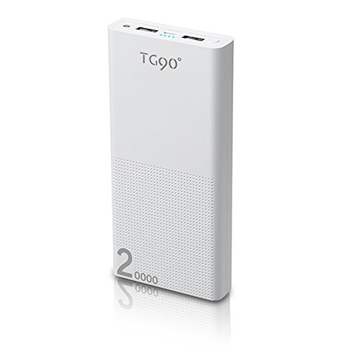 TG90 Power Bank 20000mAh Portable Charger Battery Packs External Battery Pack for iPhone 6 6s Plus 5S iPad iPod Samsung Sony HTC Digital Cameras Nexus LG Tablets Bluetooth Speaker White