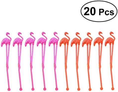 Hemoton 20 stücke Flamingo Kunststoff Trinken Stir Swizzle Sticks Gefrorene Drink Cocktail Bar Rührer Dekoration