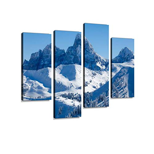 Teton Range viewed from Grand Targhee Canvas Wall Art Hanging Paintings Modern Artwork Abstract Picture Prints Home Decoration Gift Unique Designed Framed 4 Panel