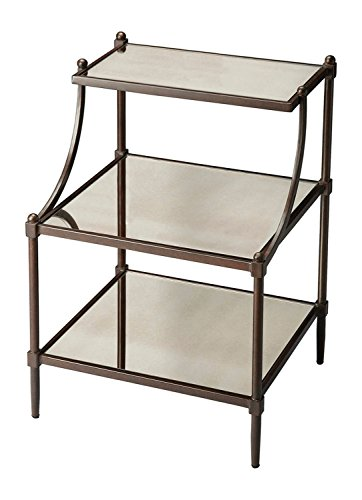Offex Home Decor Mirrored Tiered Side Table - Gray