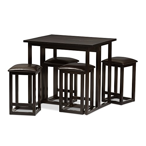Baxton Studio Leeds 5-Piece Wood Collapsible Pub Table Set, Brown (Dining Set Wenge Table)