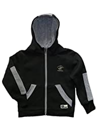 Little Boys Midnight Black Zip-up Fleece Hoodie Jacket (4)