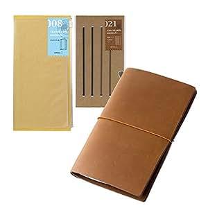 Midori Traveler's Notebook Leather Bundle Set , Regular Size Camel , Refill Connection Rubber Band 021 , Clear Zipper Case 008