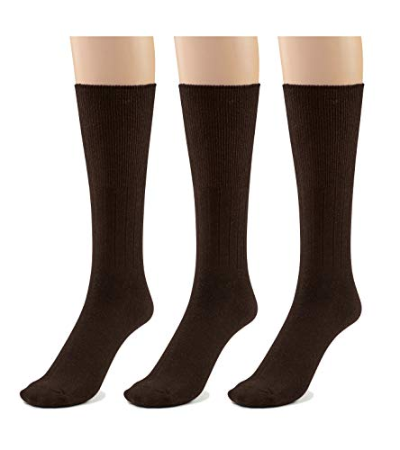 Silky Toes 3 or 6 Pk Men's Diabetic Non-Binding Cotton Dress Socks, Multi Colors Also Available in Plus Sizes... (13-15, Brown - 3 Pairs)