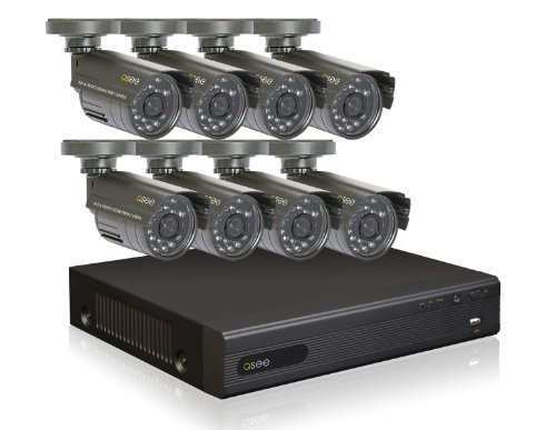 Q-See QT228-8B5-5 8-Channel CIF/D1 Security Surveillance DVR System with 500GB Hard Drive and 8 Weatherproof Color Cameras (Gray)