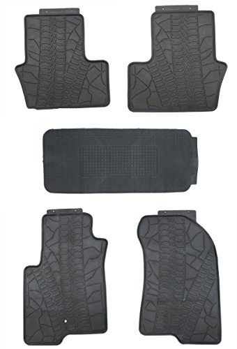 TMB Motorsports Black Rubber All Weather Floor Mats for 2007-2016 Jeep Compass