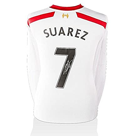 9e2015962ae Luis Suarez Autographed Jersey - Liverpool Away Shirt 2013 14 Number 7 -  Autographed Soccer Jerseys at Amazon s Sports Collectibles Store