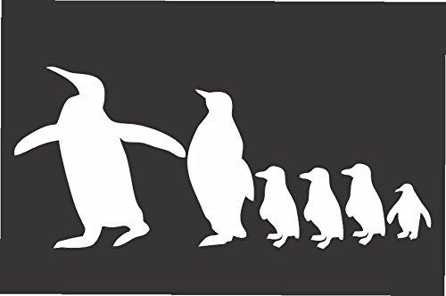 "Penquin Family- Die Cut Vinyl Window Decal/sticker for Car , Truck, Laptop 3.5""x8.5"""