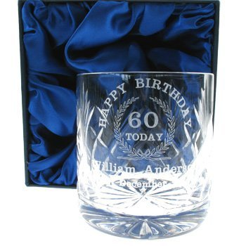 60th Birthday Whisky Glass For Him Personalised Gifts Amazoncouk Kitchen Home