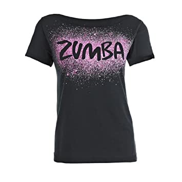 Zumba Fitness cosmic top t-shirt pour femme Noir noir XS S  Amazon ... 72ef0ab1325