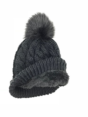 BRUCERIVER Womens Winter Knit Hat Trendy Slouchy Beanie with Warm Fleece Lining and Soft Thick Cable Design Colour Black