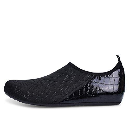 JIASUQI Mens and Womens Summer Barefoot Water Skin Shoes for Surf Pool Zip Black US 5.5-6.5 Women, 5-5.5 Men by JIASUQI (Image #3)
