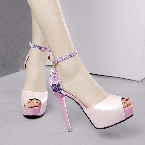 La de High Color Agua 12Cm Pink Zapatos Boca Plataforma Taladro Mujer Heel Hebillas Sandalias GTVERNH Verano Verano De Impermeable Pescado Hembra De De Zapatos Super Ajuste wzFanfqx
