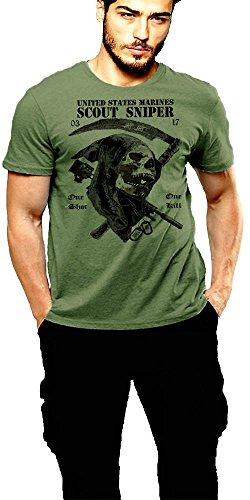 USMC Scout Sniper T Shirt 0317 Grim Reaper Marine Corp Semper Fidelis (XL)