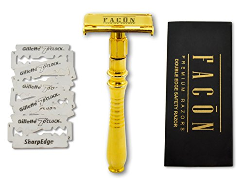 [GOLD] - Facón Double Edge Long Handled Classic Vintage Heavy Duty Safety Razor for Smooth Wet Shaving Experience - Butterfly Premium Design - Includes 5 Luxury Platinum DE Razor Blades & Gift Box