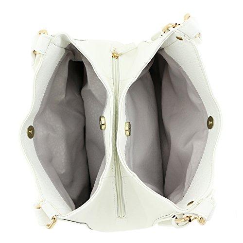 Light 3 Leather Faux Bag White Hobo Medium weight Compartment rpwxBI5qrZ