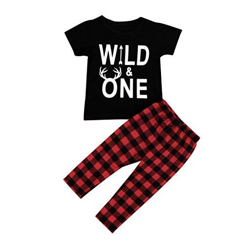 Fheaven 2PCS Infant Baby Boy Short Sleeve T-shirt+Plaid PantsOutfits Clothes (12M, (Plaid Overlay)