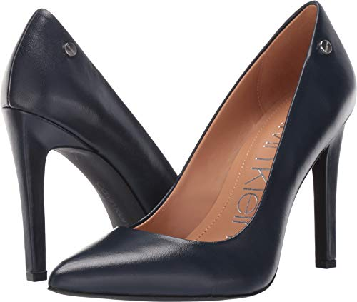 Pump Women Ladies (Calvin Klein Women's Brady Pump, Navy Leather, 7.5 M US)