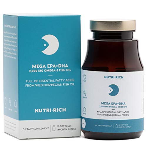 MEGA EPADHA by Nutri-Rich, 2,000mg Wild Norwegian Fish Oil Rich in Prenatal DHA for Healthy MOM & Baby, Burpless, Sustainable, for Brain & Heart Health (60 Softgels) Review