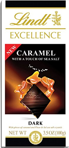 Lindt Excellence Bar, Caramel with Sea Salt & Dark Chocolate, 3.5-Ounce (Pack of 12)
