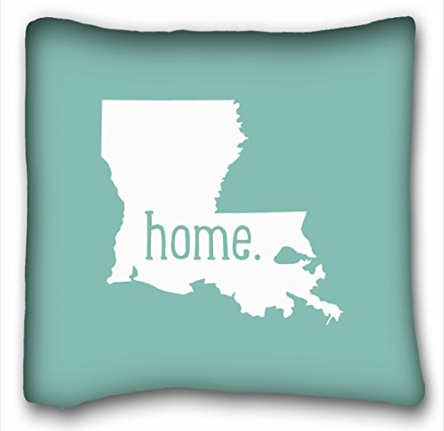 Tarolo Louisiana Home State Throw Pillow Cover Cotton Pillowcase Cushion Cover Size 18x18 Inches One Sided Print