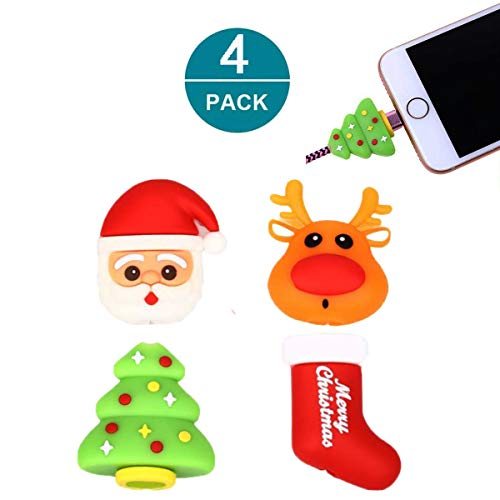 Newseego Compatible iPhone Cable Protector Charger Saver Cable Cable Cute Animal Cable Accessory-4 Pack (Christmas Chargers)