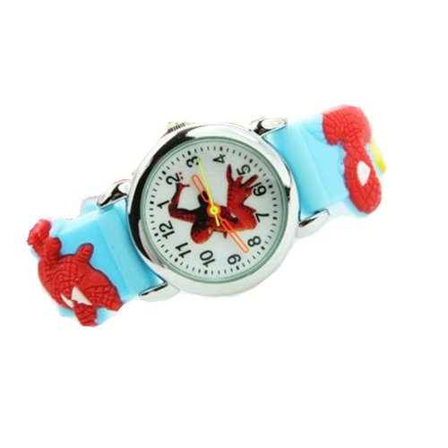 Spiderman Watch with Radom Post Black or Blue Jelly Band - Children's Size (Light Blue)