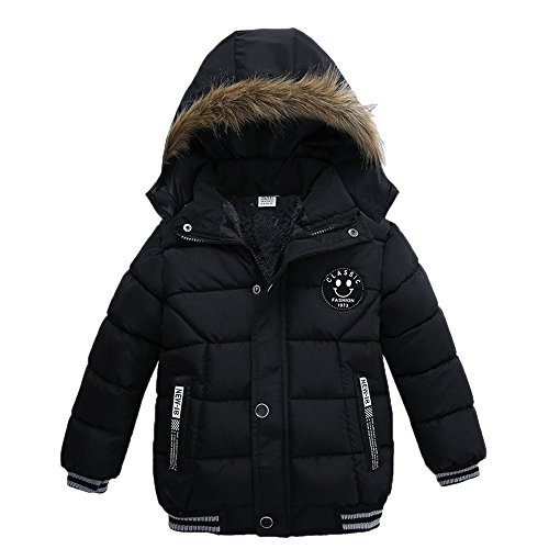 Pocciol Lovely Kids Coat Boys Girls Thick Warm Zip Coat Padded Winter Jacket Clothes for 2-5T Baby Kid (Black, 3T/Years)